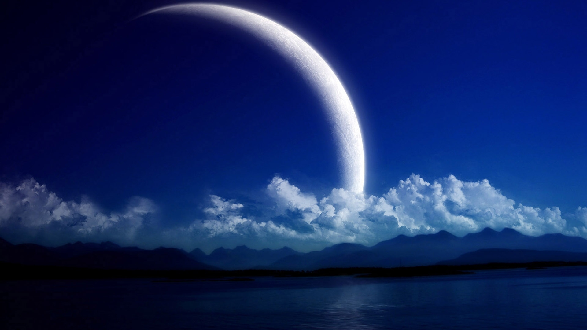 Download mobile wallpaper Landscape, Fantasy, Mountains, Sea, Clouds, Moon for free.