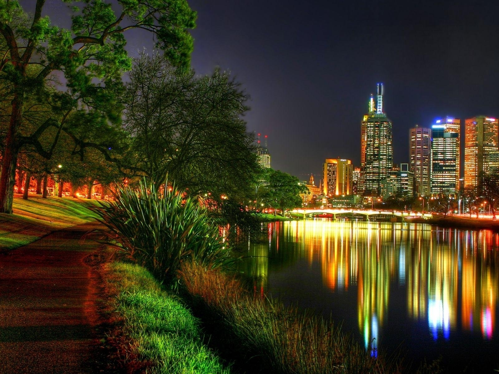 Download mobile wallpaper Plants, Landscape, Cities, Rivers, Night for free.