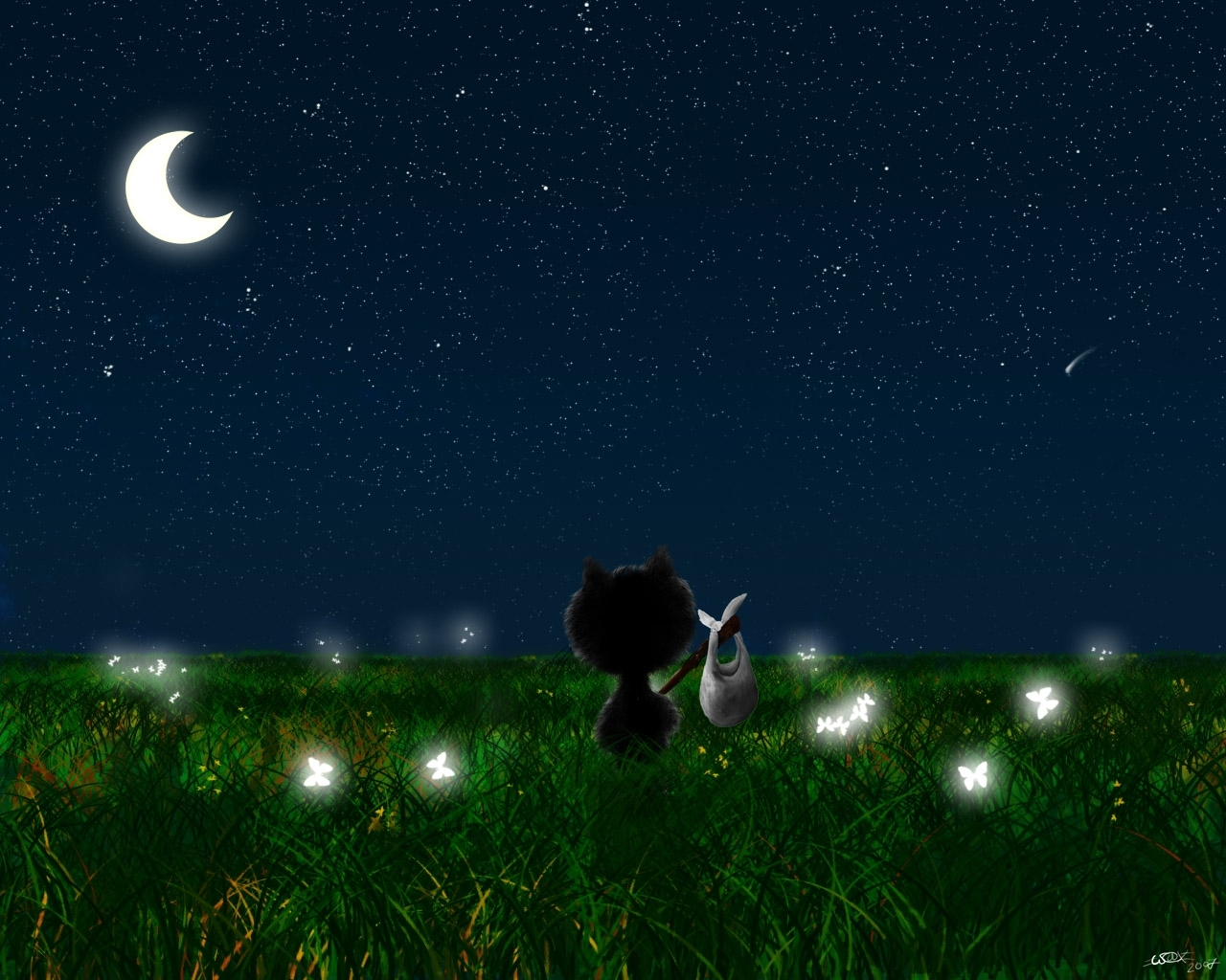 Download mobile wallpaper Landscape, Cats, Grass, Night, Moon, Pictures for free.