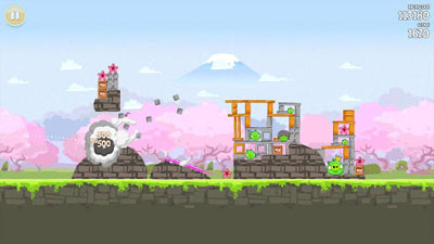 Angry Birds Seasons Cherry Blossom - Symbian game screenshots. Gameplay Angry Birds Seasons Cherry Blossom.