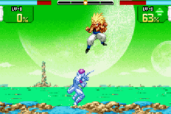 Pancada de Dragão Z: Guerreiros Supersônicos  - Screenshots do jogo para Symbian. Jogabilidade do Dragon Ball Z: Supersonic Warriors.