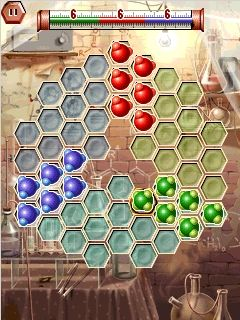 Hexxagon Laboratorium - Symbian-Spiel Screenshots. Spielszene Hexxagon labs.