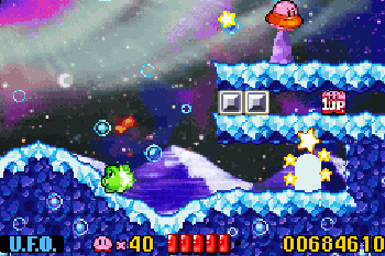 Kirby: Alpträume im Traumland - Symbian-Spiel Screenshots. Spielszene Kirby: Nightmare in Dream land.