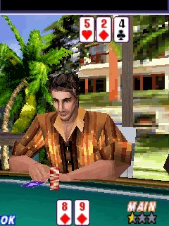 Mitternacht Hold´Em Poker - Symbian-Spiel Screenshots. Spielszene Midnight hold em poker 3D.