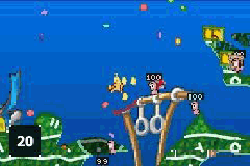 Würmer: Weltparty - Symbian-Spiel Screenshots. Spielszene Worms World Party (GBA).
