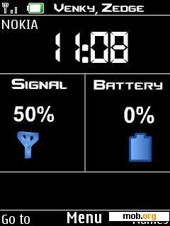 Download free digital signal battery clock theme for Symbian