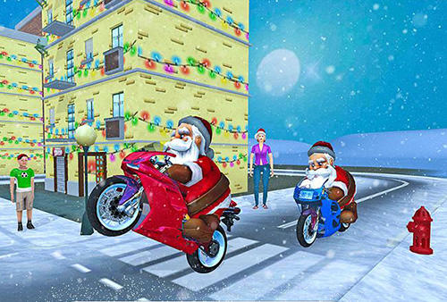 Racing games Crazy Santa moto: Gift delivery for smartphone