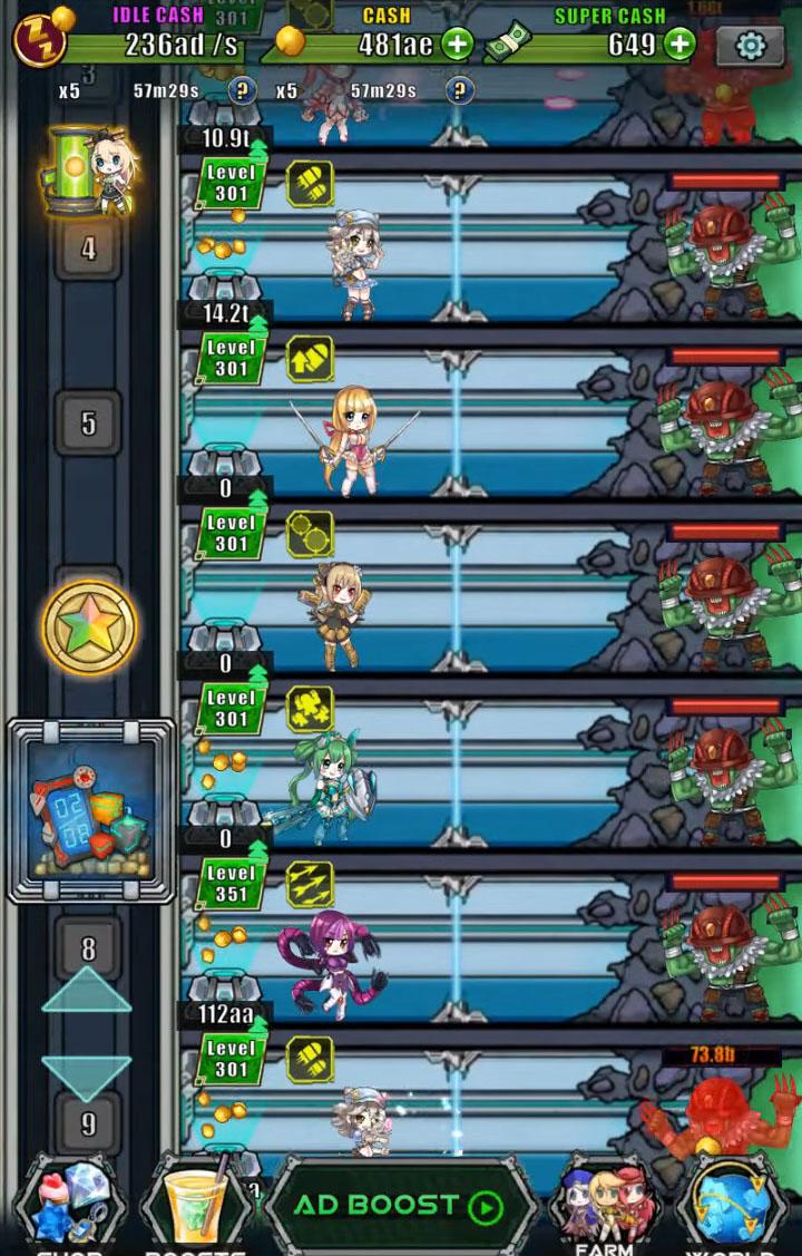 Idle Space Farmer - Waifu Manager Simulator captura de tela 1