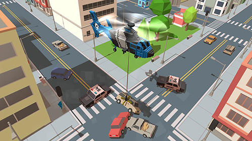 Blocky helicopter city heroes Screenshot