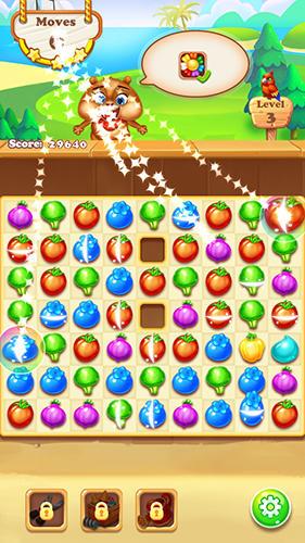 Arcade Match 3 game: Chipmunk farm havest für das Smartphone