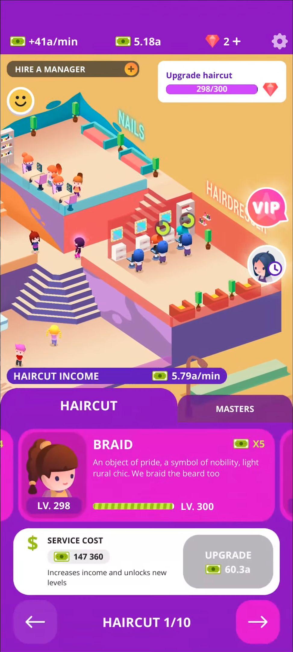 Idle Beauty Salon: Hair and nails parlor simulator captura de pantalla 1