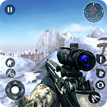 Winter mountain sniper: Modern shooter combat icon