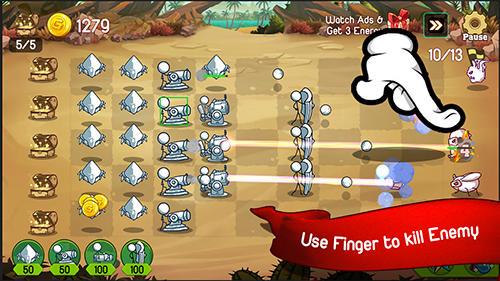Arcade-Spiele Stickman defense: Cartoon wars für das Smartphone