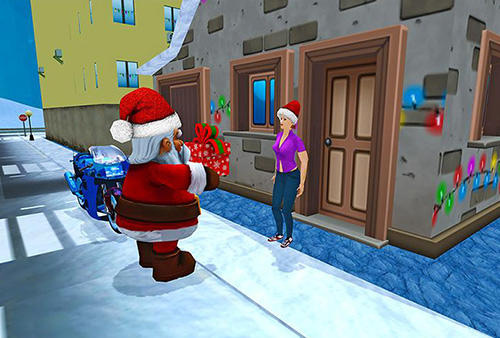 Holiday games Crazy Santa moto: Gift delivery in English