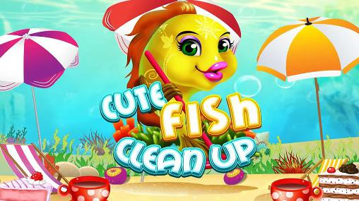 Cute fish clean up icon