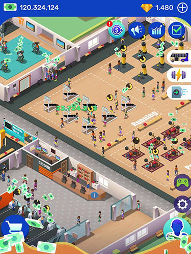 Idle fitness gym tycoon in Russian