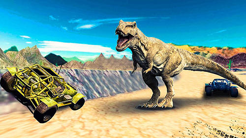 Rennspiele Dino world car racing für das Smartphone