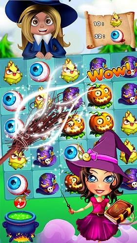 3 Gewinnt Halloween witch: Fruit puzzle auf Deutsch