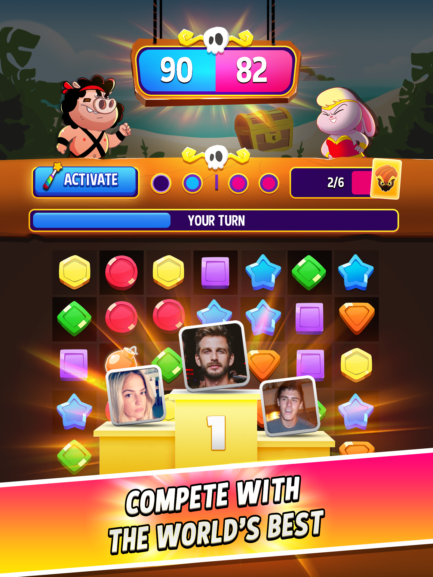 Match Masters - PVP Match 3 Puzzle Game capture d'écran 1