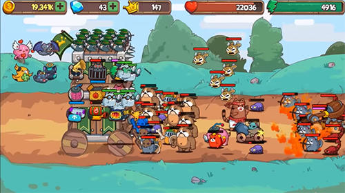 Cat'n'robot: Idle defense. Cute castle TD game für Android
