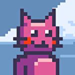 Climbing pink cat Symbol