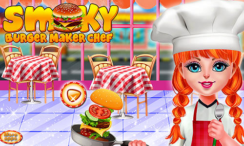 Smoky burger maker chef: Cooking games for girls captura de pantalla 1