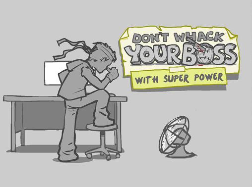 Don't whack your boss with super power: Superhero icon