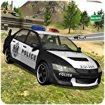 Police car driving offroad icono