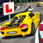 Race driving school: Test car racing Symbol