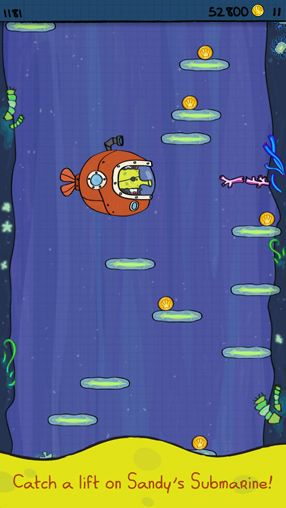 Screenshot Doodle Jump: Spongebob Schwammkopf auf dem iPhone