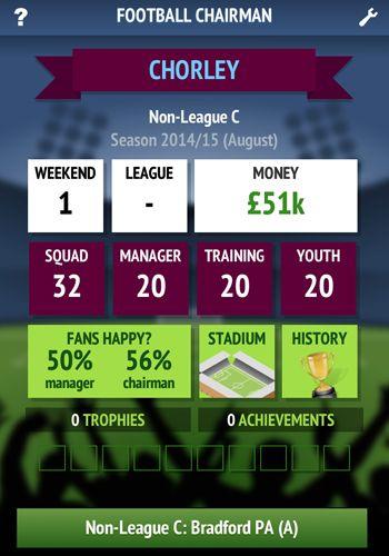 Screenshot Fußball Vorsitzender auf dem iPhone