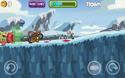 Hill racing games Mad zombies: Road racer in English