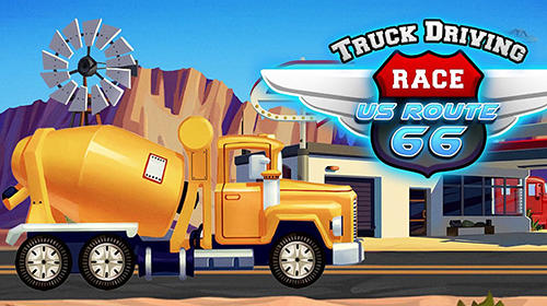Truck driving race US route 66 Symbol