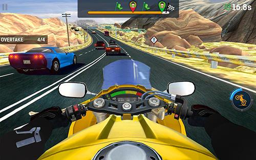 Bike rider mobile: Moto race and highway traffic auf Deutsch