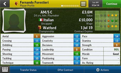 Screenshot Fußball Manager 2015 auf dem iPhone