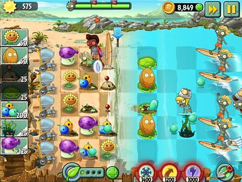 Strategy games: download Plants vs. zombies 2: Big wave beach to your phone