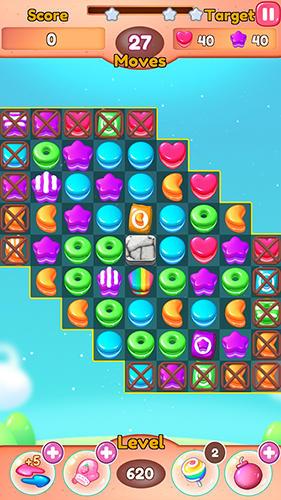 Fruit candy blast match 3: Sweet cookie mania captura de pantalla 1