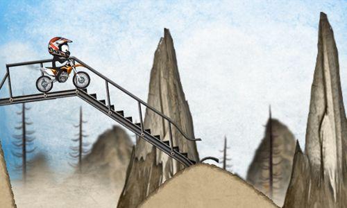 Le Motocross de montagne avec le Stickman en russe