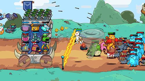 Cat'n'robot: Idle defense. Cute castle TD game auf Deutsch