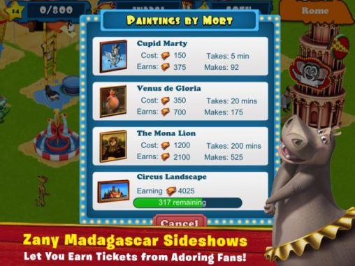 Spiele basierend auf Zeichentrickfilmen Madagascar: Join the circus auf Deutsch