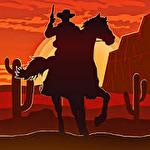 Wild West gunslinger cowboy rider icon