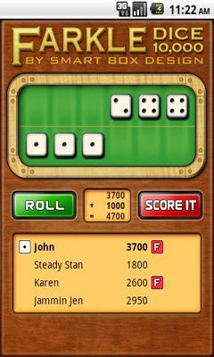 Glücksspiel Farkle Dice für das Smartphone