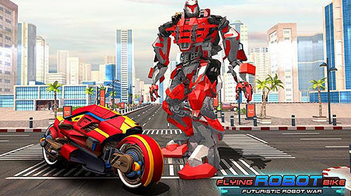 Flying robot bike: Futuristic robot war скриншот 1