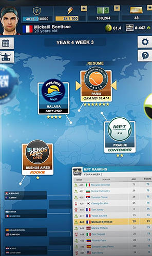 Première raquette: Manager de tennis pour iPhone gratuitement