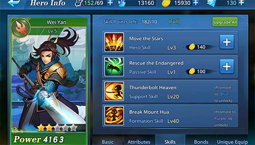 Onlinespiele Warlords battle: Heroes für das Smartphone