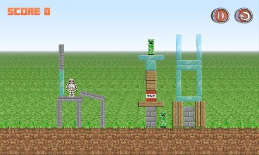 Angry Birds ähnelnde Spiele Angry Herobrine für das Smartphone