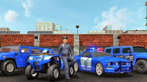 Course US police Hummer car quad bike transport pour smartphone