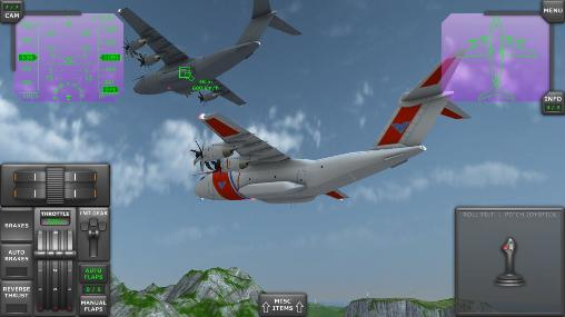 Simulation Turboprop flight simulator 3D für das Smartphone