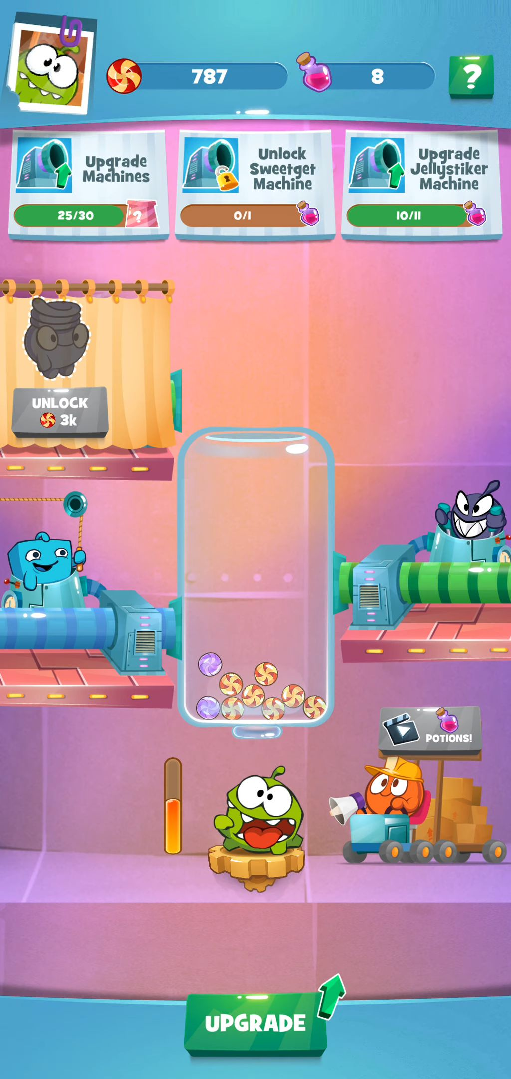 Om Nom Idle Candy Factory captura de pantalla 1