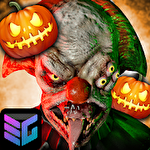 Death park: Scary clown survival. Halloween horror icon